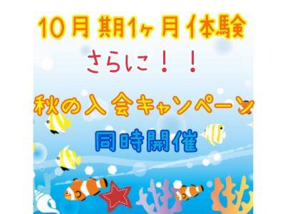 10月期1ヶ月体験と同時に秋の入会キャンペーン実施☆彡